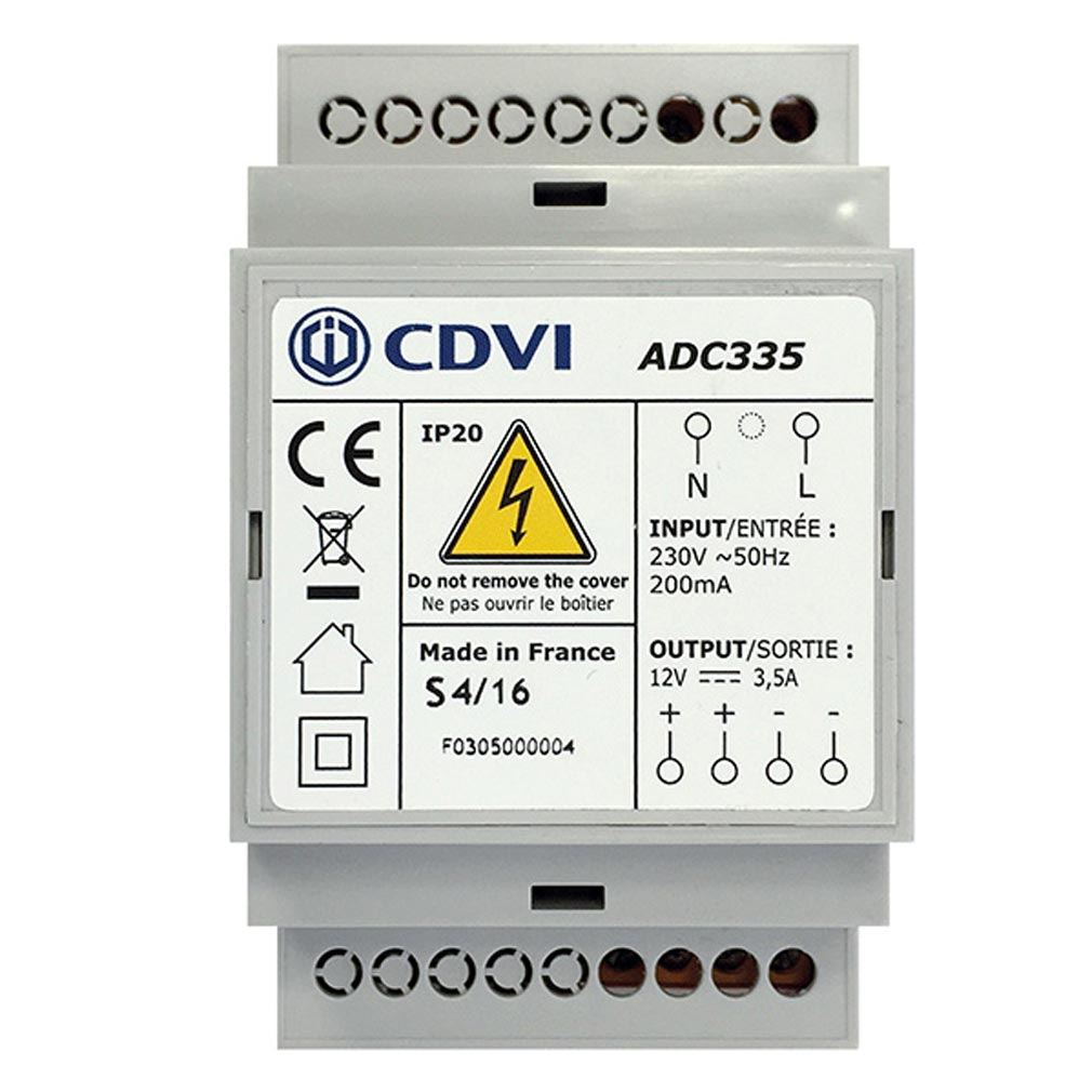 Cdvi - CDAF0305000004 - ADC335 - ALIMENTATION3,5 AMP 12 VRAIL DIN3 MODULES