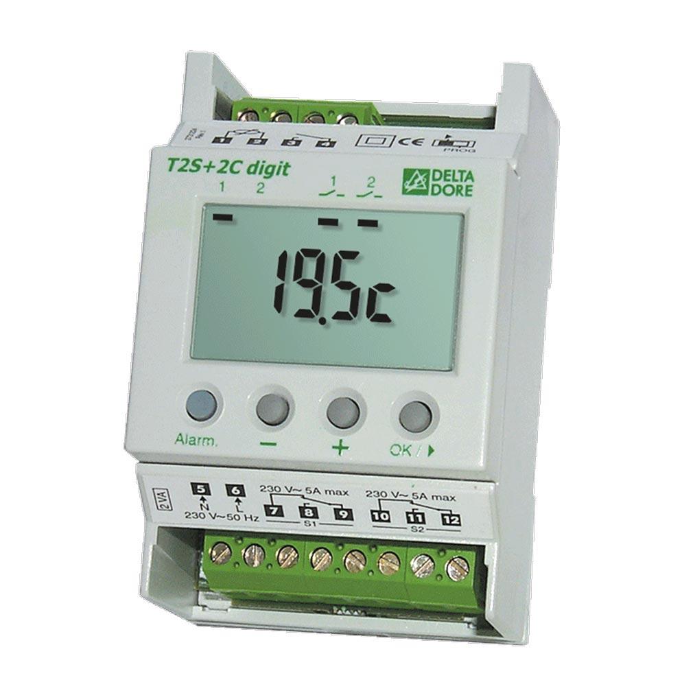 Delta dor - DDO6150024 - DELTA DORE T2S + 2C DIGIT - 6150024 - Thermostat électronique à affichage digital 2 sorties - 2 consignes