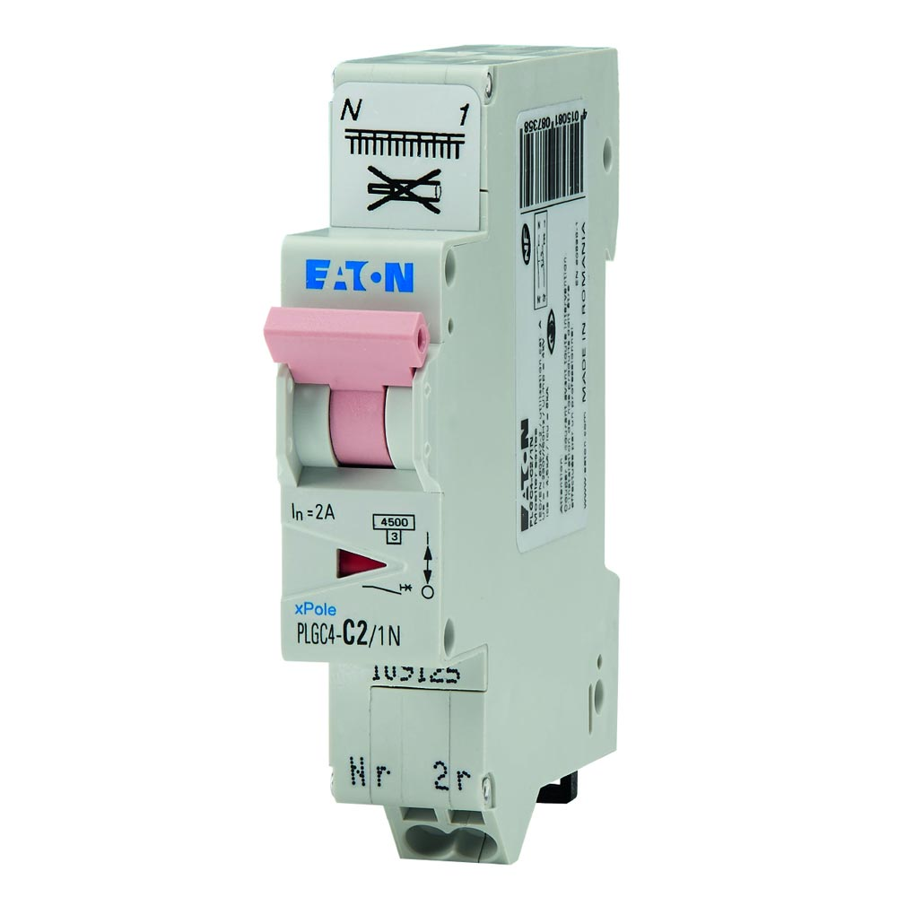 Eaton - EON000109125 - PLGC4-C2/1N - DISJ PH+N, BORNE RES, 2A 4,5KA (EN 60898) CBE C