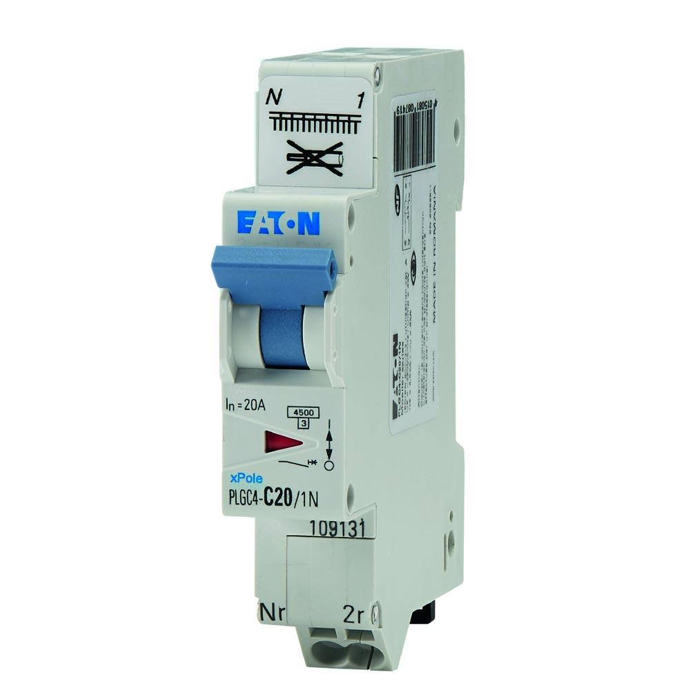 Eaton EON000109131 - PLGC4-C20/1N - DISJ PH+N, BORNE RES, 20A 4,5KA (EN 60898) CBE C