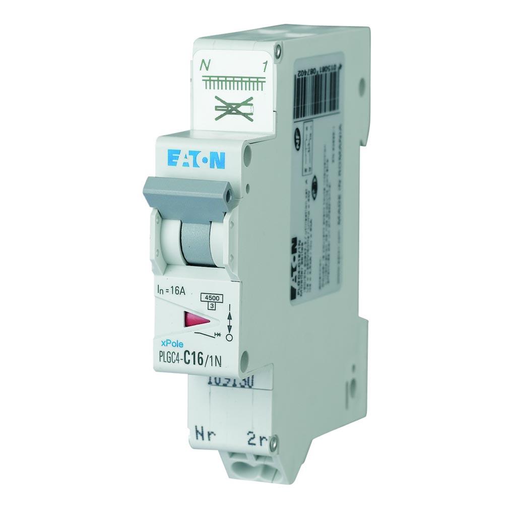 Eaton EON000109133 - PLGC4-C32/1N - DISJ PH+N, BORNE RES, 32A 4,5KA (EN 60898) CBE C