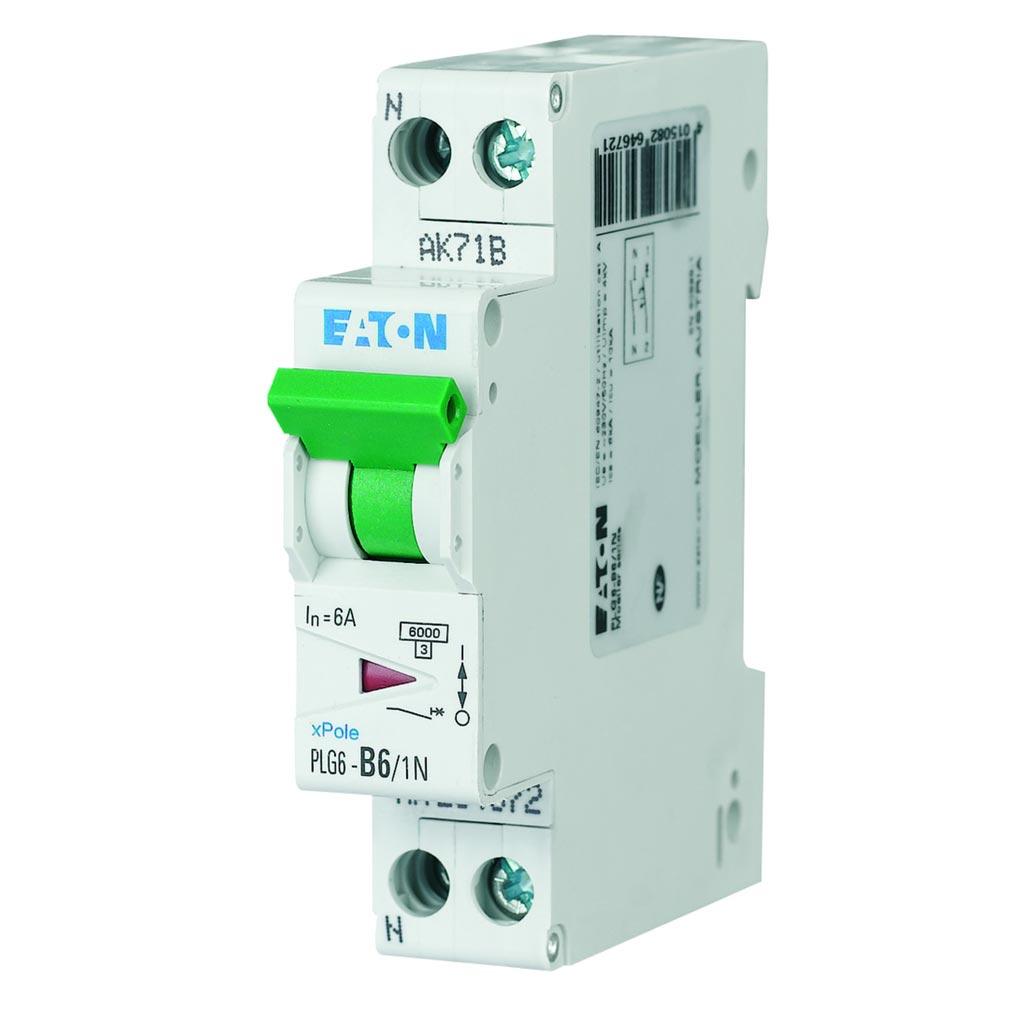 Eaton - EON000264692 - PLG6-C6/1N - DISJ PH+N 6A 10KA (EN 60947-2) CBE C