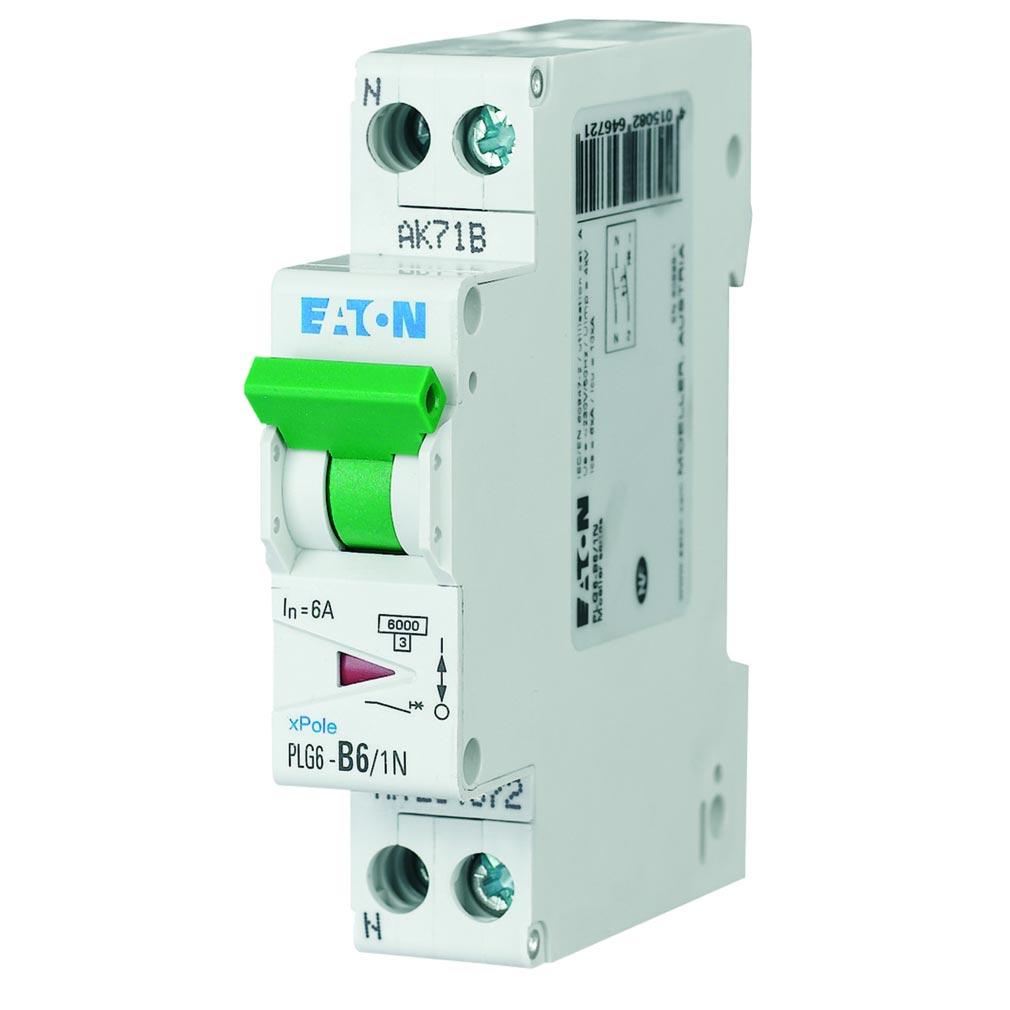 Eaton - EON000264696 - PLG6-C20/1N - DISJ PH+N 20A 10KA (EN 60947-2) CBE C