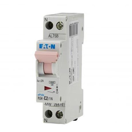 Eaton PLG4-C2/1N - Eaton 000264741 - PLG4 C2/1N   DISJ PH+N 2A 4,5KA (EN 60898) CBE C...