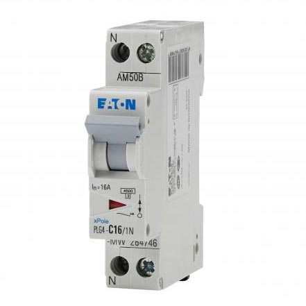 Eaton - EON000264746 - PLG4-C16/1N - DISJ PH+N 16A 4,5KA (EN 60898) CBE C