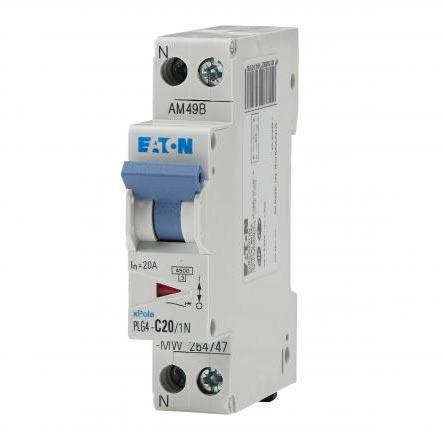 Eaton - EON000264747 - PLG4-C20/1N - DISJ PH+N 20A 4,5KA (EN 60898) CBE C