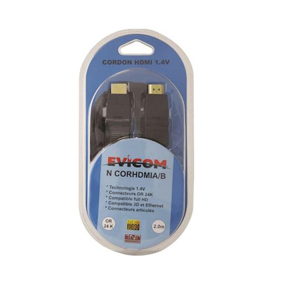 Evicom - EVCNCORHDMIAB - EVICOM NCORHDMIA/B -  Cordon HDMI articulé mâle/mâle- 2 mètres sous blister