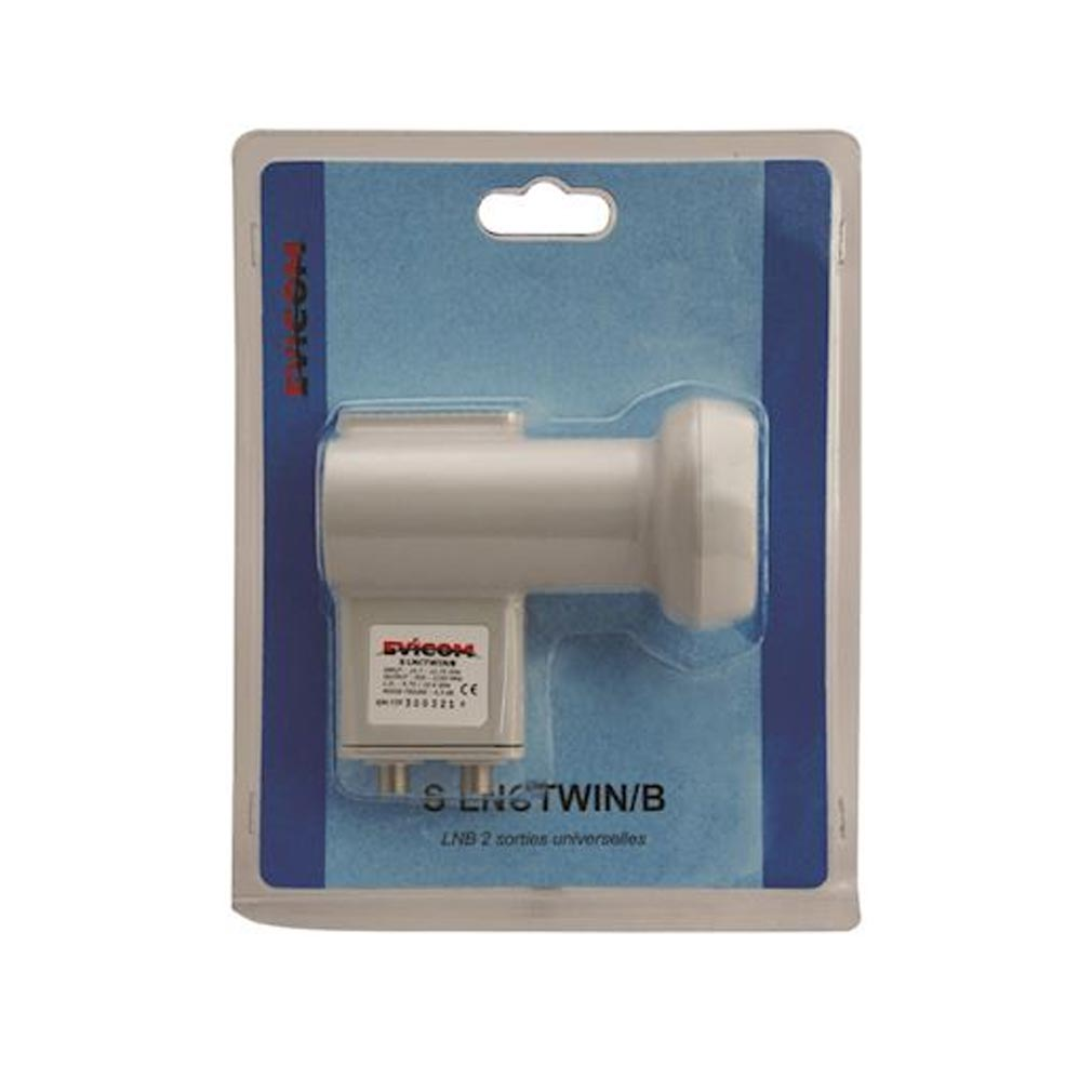 Evicom - EVCSLNCTWINB - EVICOM SLNCTWIN/B -  LNB TWIN 2 sorties indépendantes sous blister