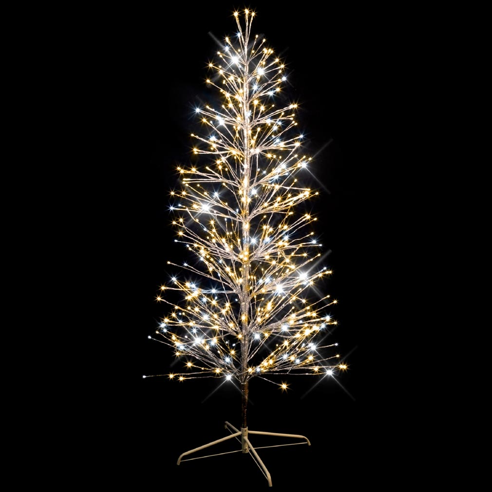 Festiligh - FEH40479AP9 -  SPRAY- Sapin spray argent H1,50m- 320LED Blanc chaud pét