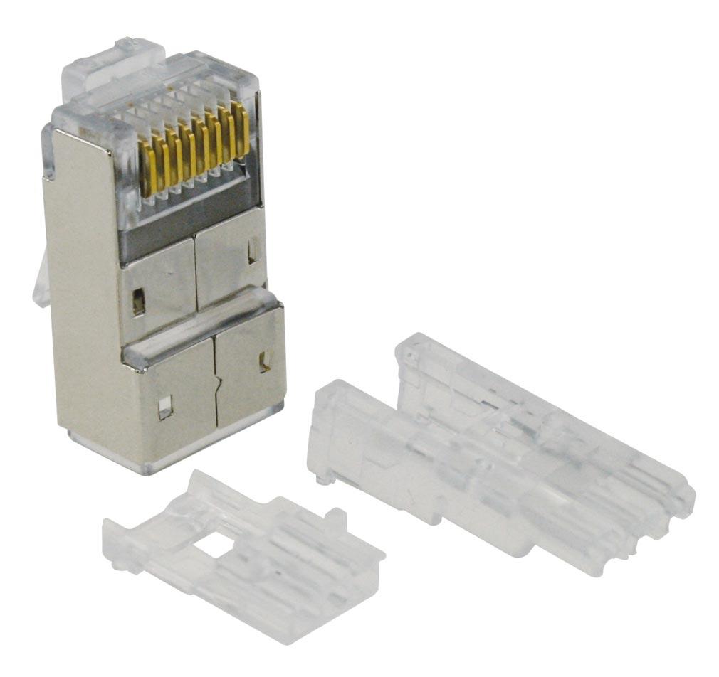 Gigamedia - GGMMJ8C68PB8C - GIGAMEDIA MJ8C68PB8C - Lot de 10 connecteurs modular 8 points / 8 contacts blindés CAT6