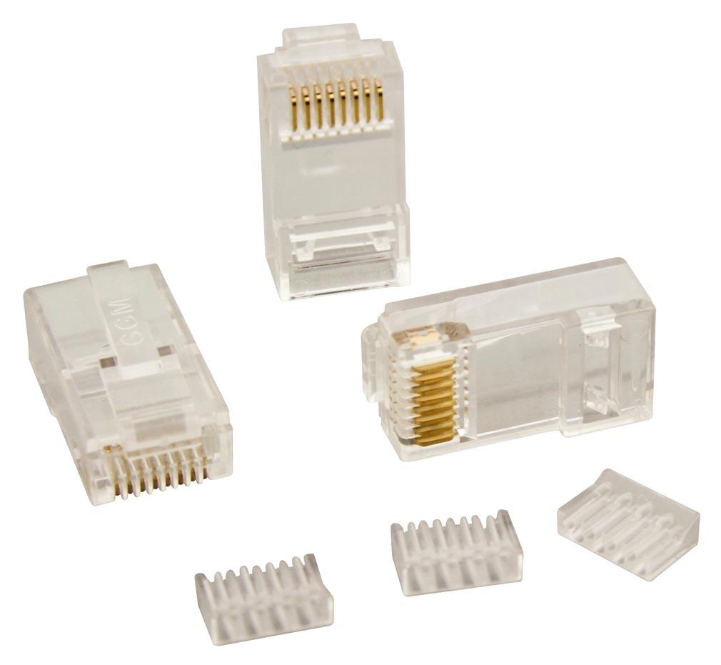 Gigamedia - GGMMJ8EP8C - GIGAMEDIA MJ8EP8C -  Lot de 10 connecteurs modular 8 points / 8 contacts CAT5e/CAT6 (2 parties)