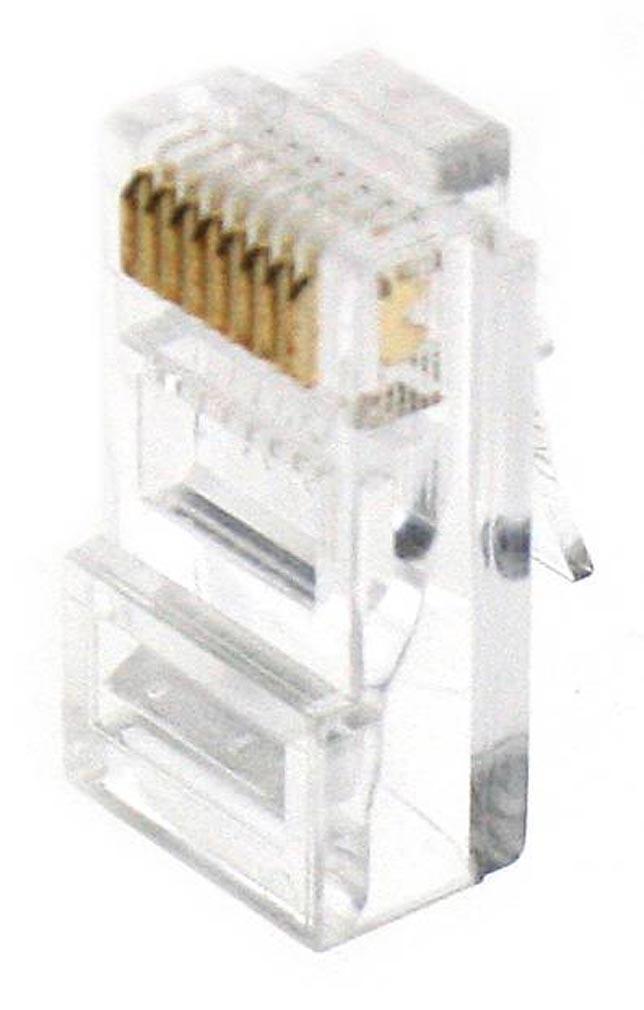 Gigamedia - GGMMJ8EP8CR - GIGAMEDIA MJ8EP8CR -  Lot de 10 connecteurs modular 8P8C CAT5e/CAT6 pour câble rigide GIGAMEDIA U/UTP