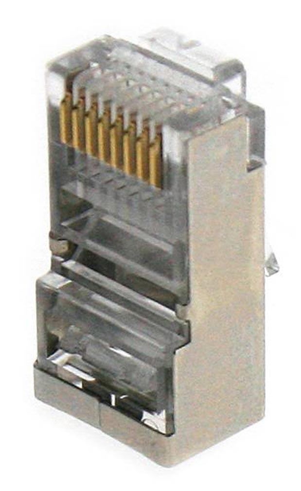 Gigamedia - GGMMJ8PB8C - GIGAMEDIA MJ8PB8C - Lot de 10 connecteurs modular 8 points / 8 contacts blindés CAT5e/CAT6