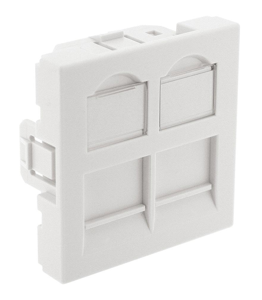 Gigamedia - GGMPL45DD - GIGAMEDIA PL45DD -  Plastron droit 2 ports 45x45 avec volet