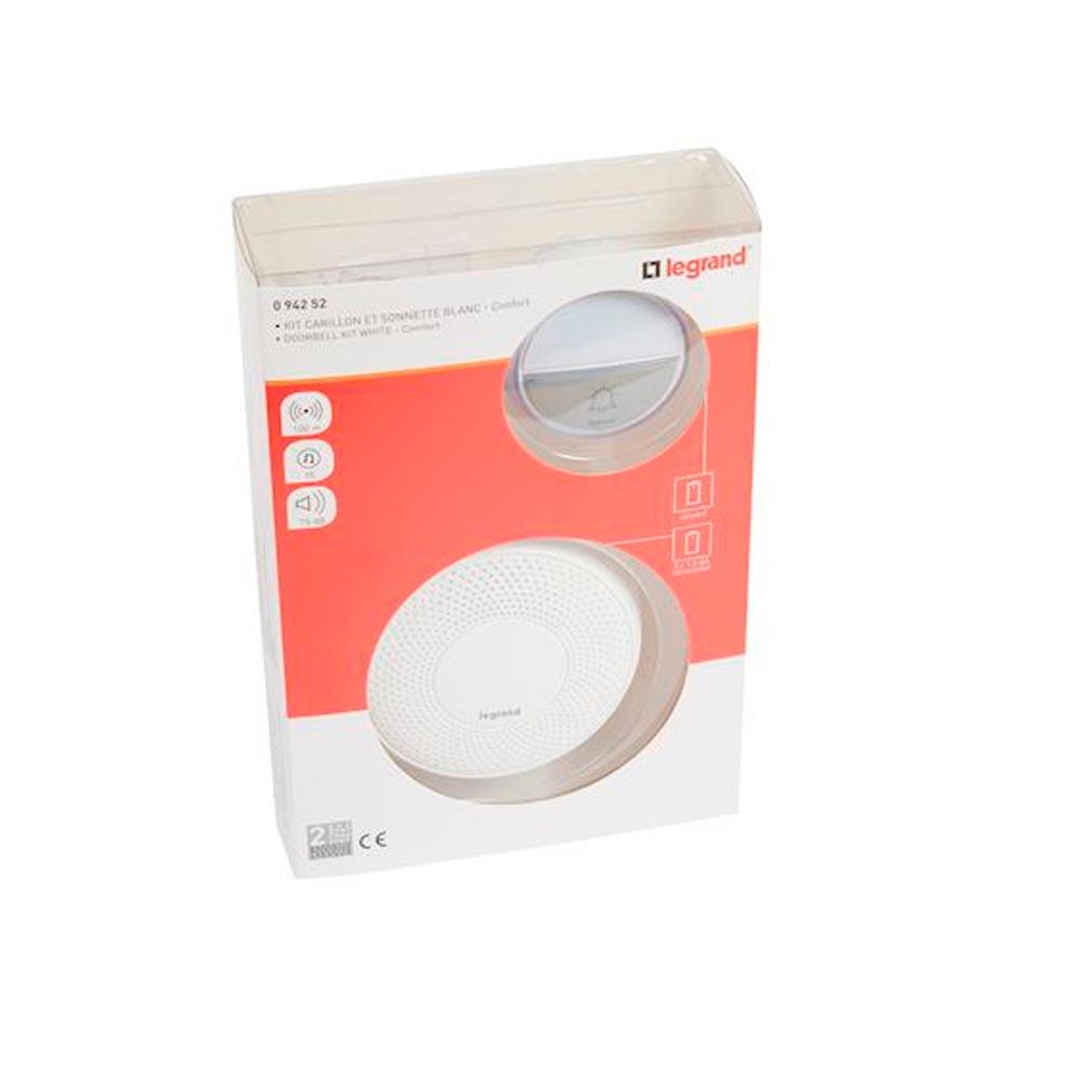Legrand - LEG094252 - LEGRAND 094252 -  Kit carillon radio sans fil Confort à piles - blanc