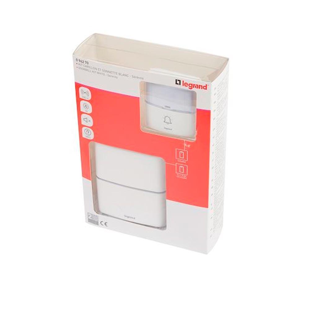 Legrand - LEG094270 - LEGRAND 094270 -  Kit carillon radio sans fil Sérénité simple à piles - blanc