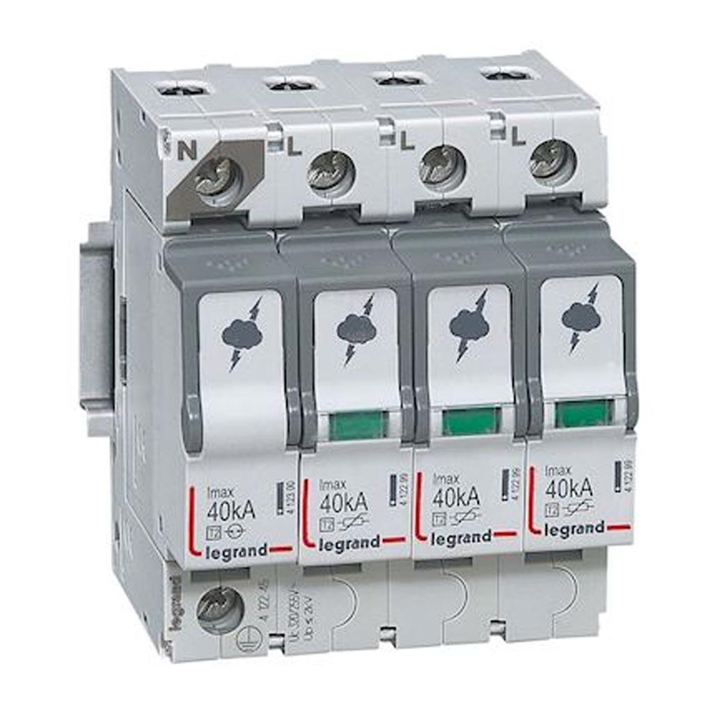 Legrand - LEG412245 - LEGRAND 412245 - Parafoudre basse tension typeT2 Imax 40kA/pôle - 3P+N 320V~ - 4 modules