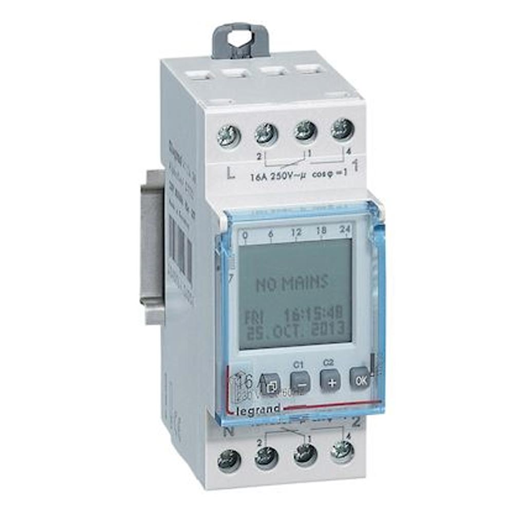 Legrand - LEG412630 - LEGRAND 412630 - Inter horaire digital modulaire programmable annuel - 2 sorties 16A - 230V~
