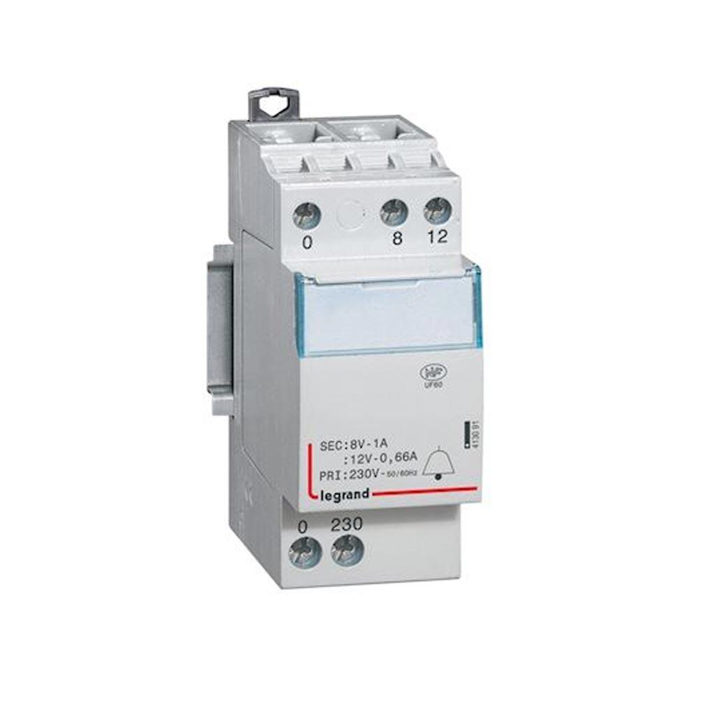Legrand - LEG413091 - LEGRAND 413091 -  Transformateur pour sonnerie 230V vers 12V ou 8V - 8VA - 2 modules