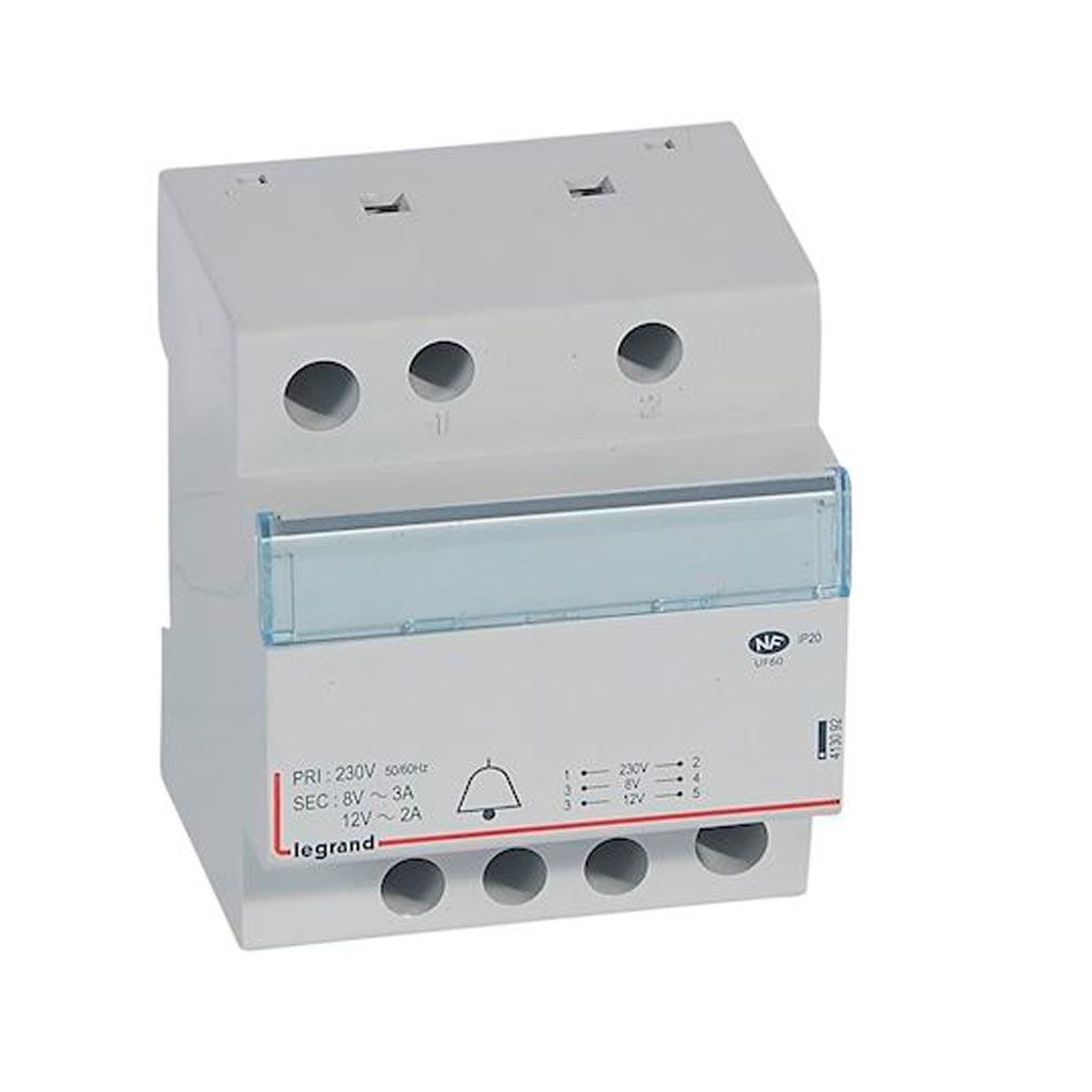 Legrand - LEG413092 - LEGRAND 413092 -  Transformateur pour sonnerie 230V vers 12V ou 8V - 24VA - 4 modules