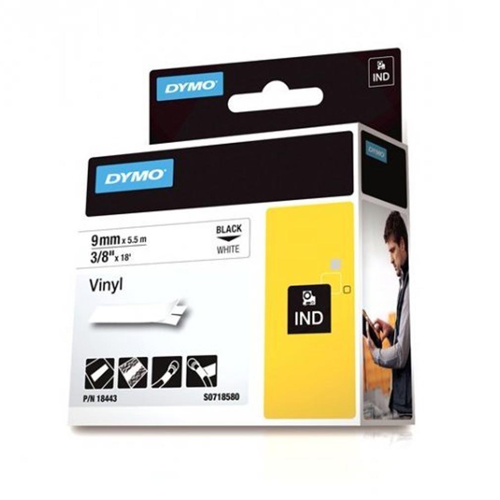 Nwl DYM18443 - DYMO 18443 - Ruban Rhino vinyl noir sur blanc 9mm