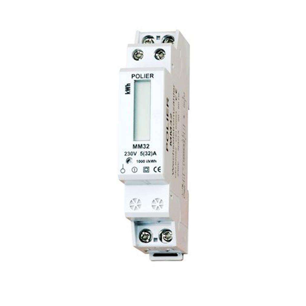 Polier in - POIMM32L - POLIER MM32L -  Compteur Modulaire Monophasé 32 A simple tarif affichage LCD CE