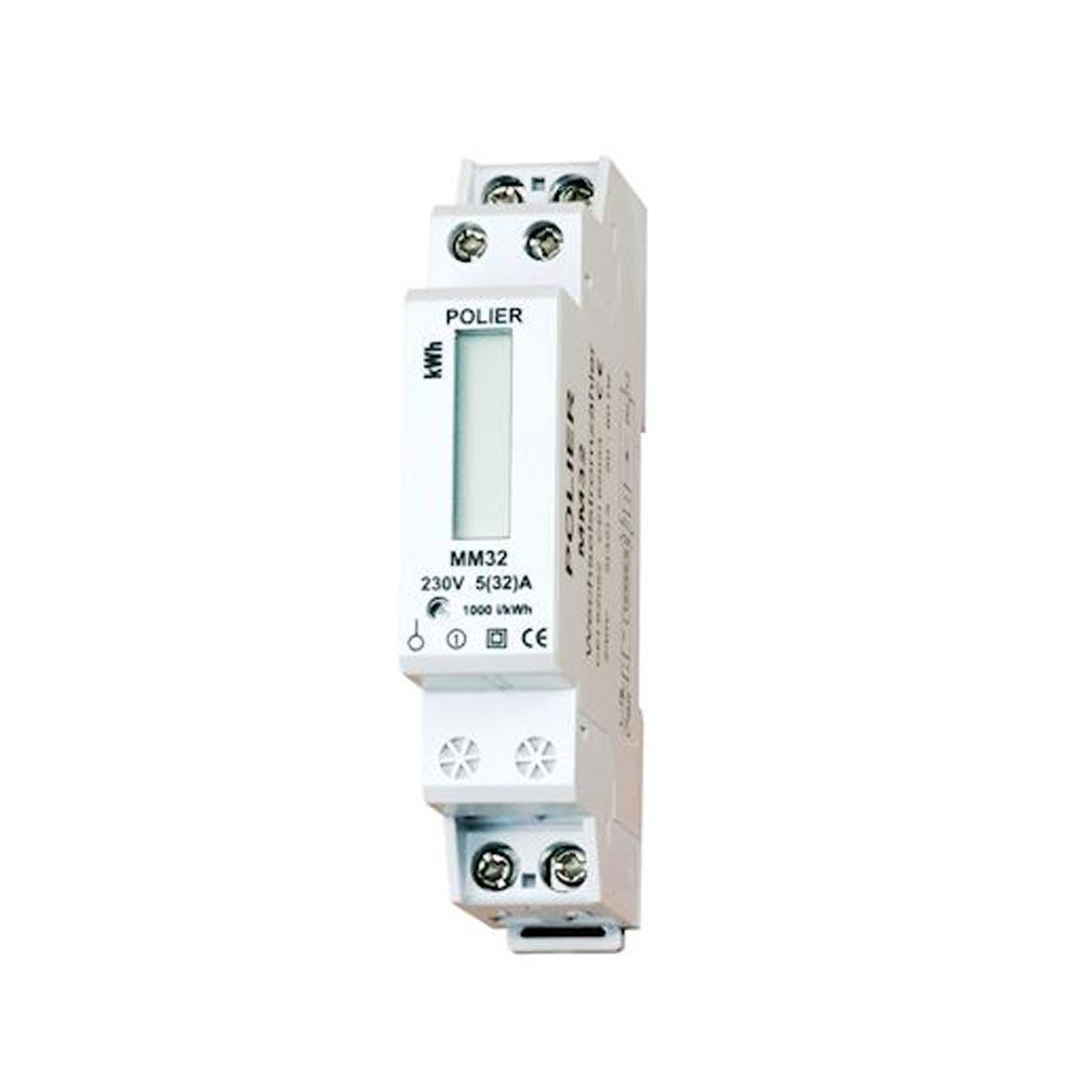 Polier in - POIMM32LM - POLIER MM32LM -  Compteur Modulaire Monophasé 45 A simple tarif affichage LCD CE+ MID
