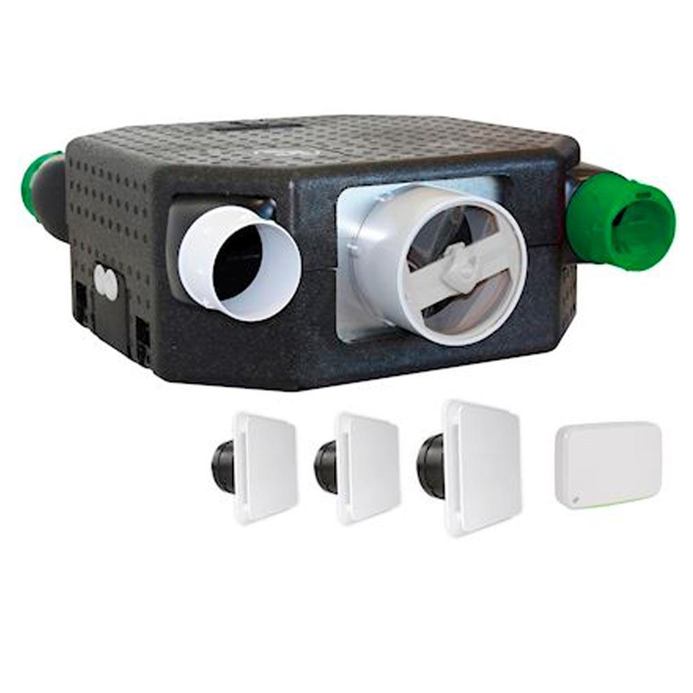 S&P - UNE604143 - UNELVENT 604143 -  DECOFLATSERENITEK - Kit VMC extra-plat, équipé de sondes de Qualité d'Air Intérieur et thermo-hygro