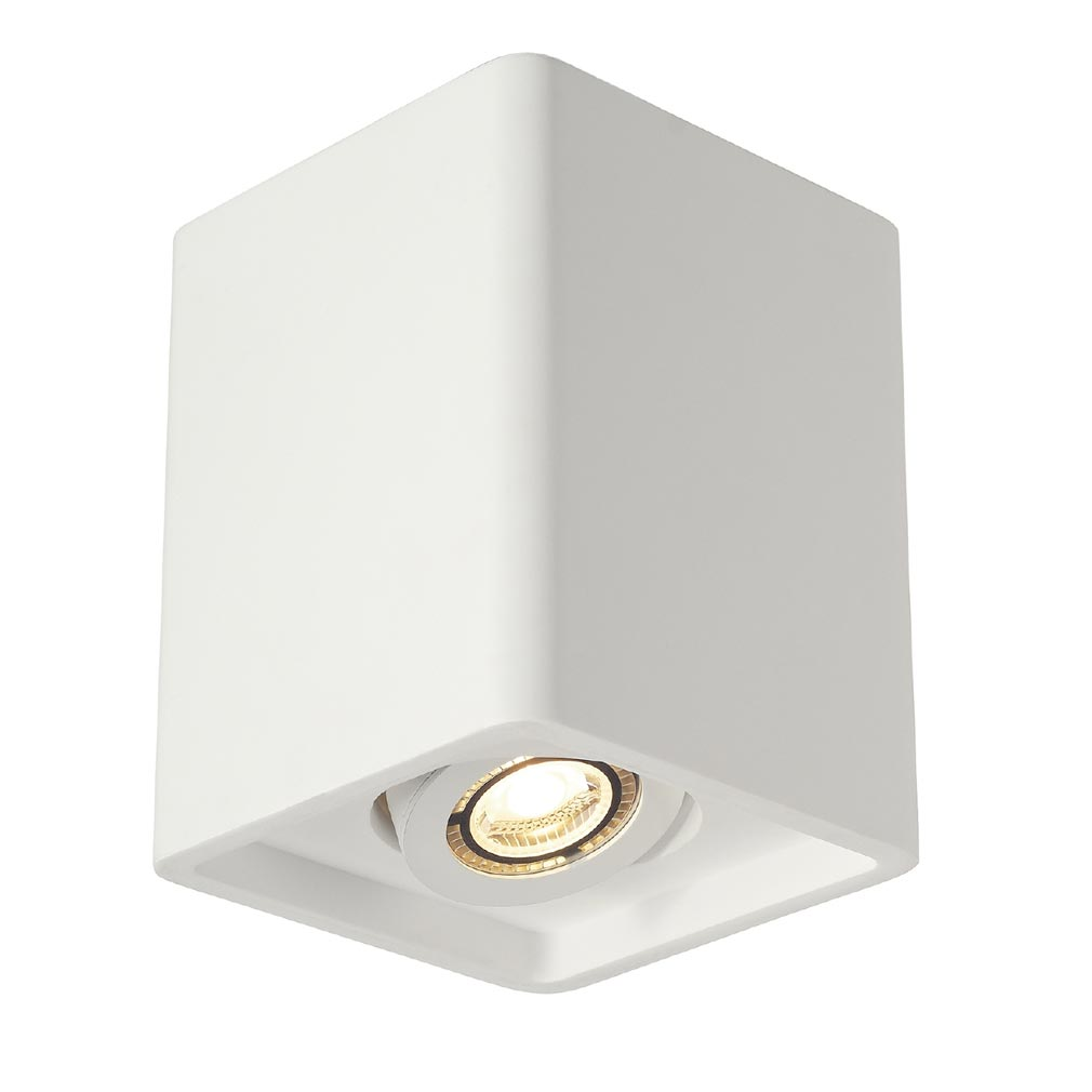 Slv 148051 Plastra Box 1 Plafonnier Carre Platre Blanc Gu10