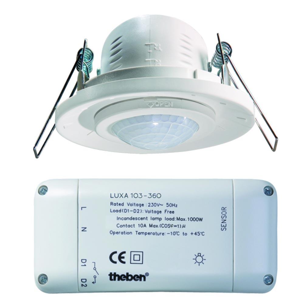 Theben - THB1030010 - LUXA 103-360 - DETECTEUR de MOUVEMENTS PLAFOND 360 degrés 1 C ENCASTRE