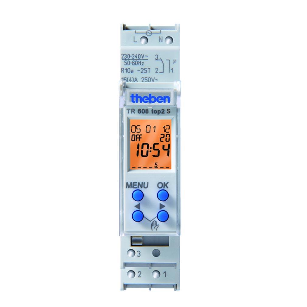 Theben - THB6080403 - INTERRUPTEUR HORAIRE DIGITAL 1 MODULE 24H 7J 1 CINV 56 PAS