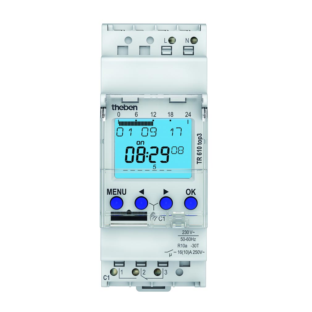 Theben - THB6100403 - INTER HORAIRE DIGIT 24H 7J 2 MODULES 1C 230V COMPATIBLE OBEL