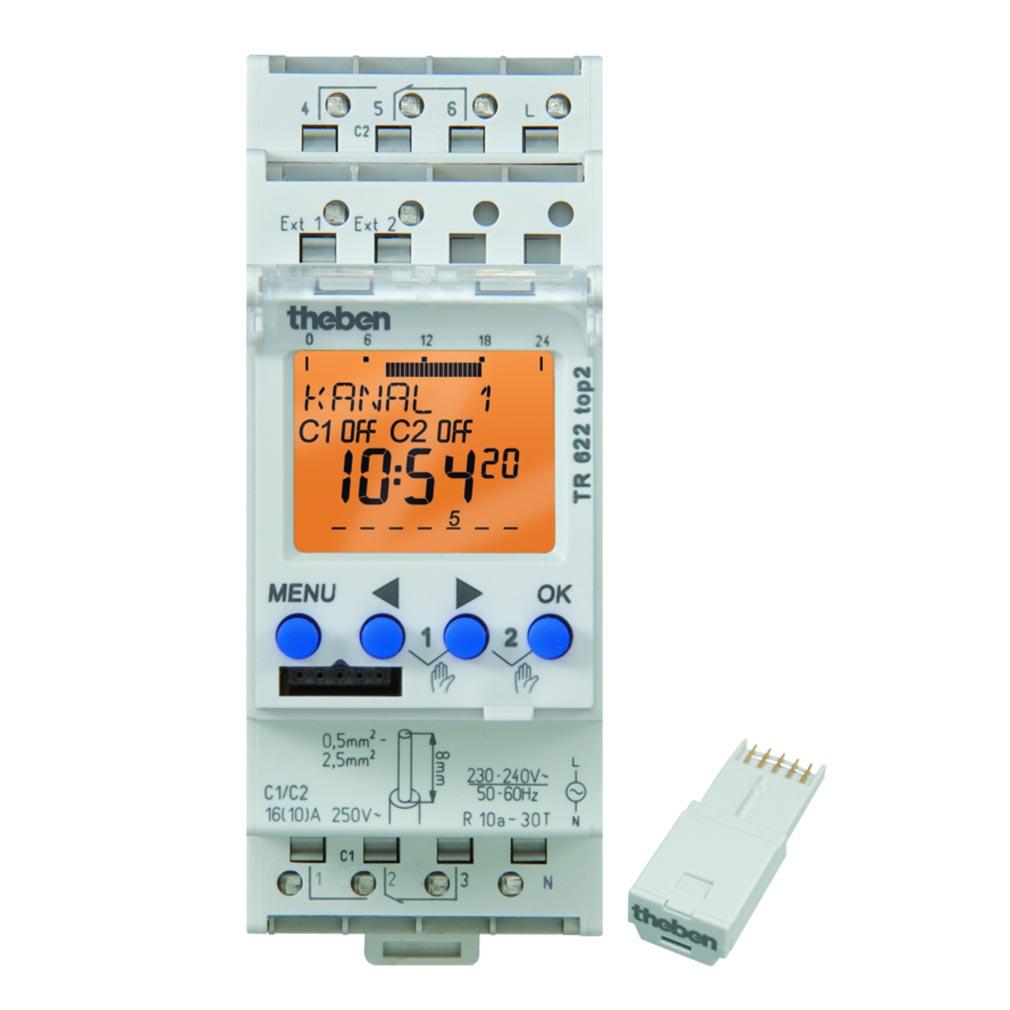 Theben - THB6220100 - INTERRUPTEUR HORAIRE DIGITAL 24H 7J 2MODULE 2 CINV 230V 84
